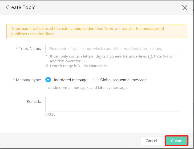Create topic Step 2